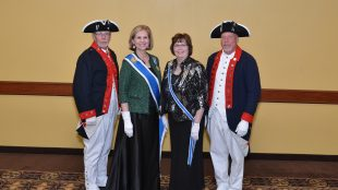 Left to Right-- Iowa S.A.R. Color Guardsman Danny Krock,  NSDAR President General Lynn Forney Young,Iowa D.A.R. State REgent 2014-2016, Sharon Braden, Iowa S.A.R. Color Guard Commander Mike Rowley